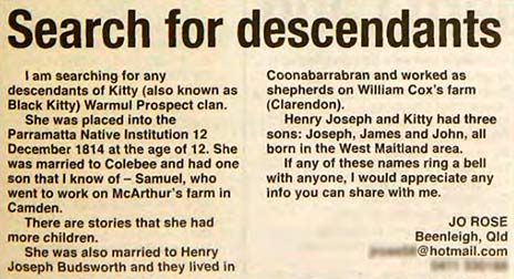Newspaper cut-out showing a personal ad of Jo Rose looking for family members.