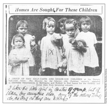 Photograph showing a group of young Aboriginal girls.