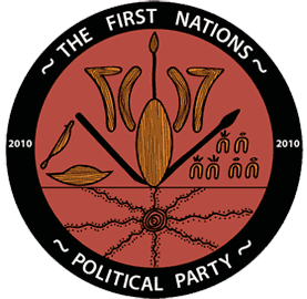 Logo of the First Nations Political Party showing spears, boomerangs and shields.
