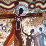 Aboriginal spiritual art: Jesus on the cross.