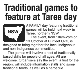 Newspaper article: Traditional games to feature at Taree