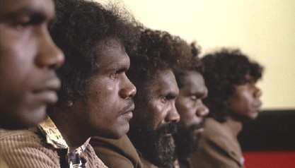 Still from The Last Wave: The five charged Aboriginal people.